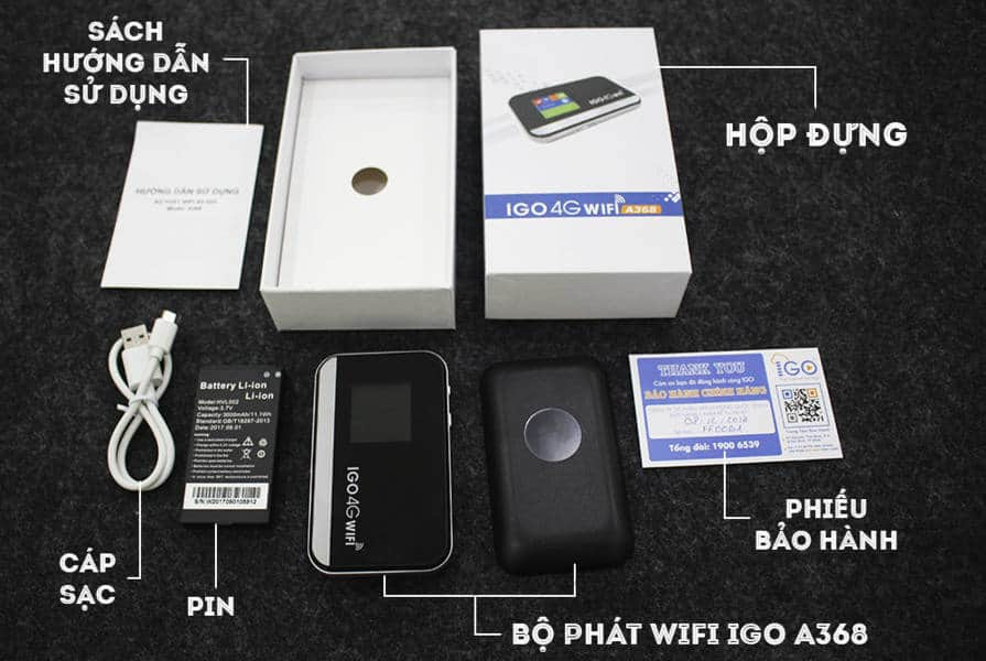 Trọn bộ thiết bị bao gồm: Bộ phát wifi từ sim 4G IGO A368, Pin Li-ion rời, Cáp sạc, Sách hướng dẫn sử dụng, Phiếu bảo hành, Hộp đựng
